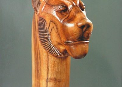 Sculptures bois figurative - Tête de guépard à l'égyptienne